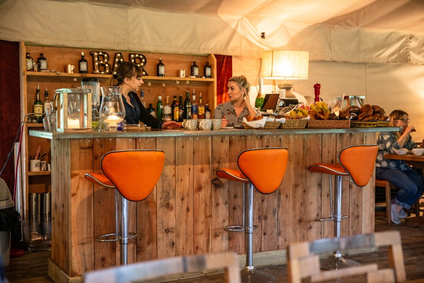 A wooden bar with orange bar stools in front of it