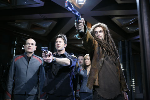 Robert Picardo as Richard Woolsey, Joe Flanigan as Lt. Col. John Sheppard, Rachel Luttrell as Teyla Emmagan, Jason Momoa as Ronon Dex on Stargate Atlantis (SCI FI Channel Photo)