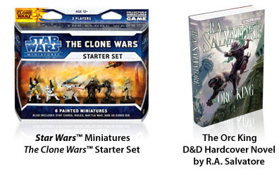 Star Wars the Clone Wars miniatures starter The Orc King novel by RA Salvatore