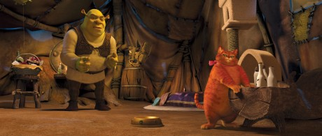 "Shrek (MIKE MYERS) takes in the pampered surroundings of the over-coiffed and over-fed Puss-in-Boots (ANTONIO BANDERAS) in DreamWorks Animation's ""Shrek Forever After,"" releasing May 21, 2010 and distributed by Paramount Pictures."