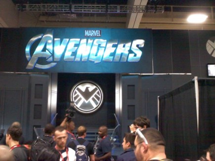 The Marvel booths had a mock-up of a S.H.I.E.L.D. office to help promote next summer's The Avengers movie.