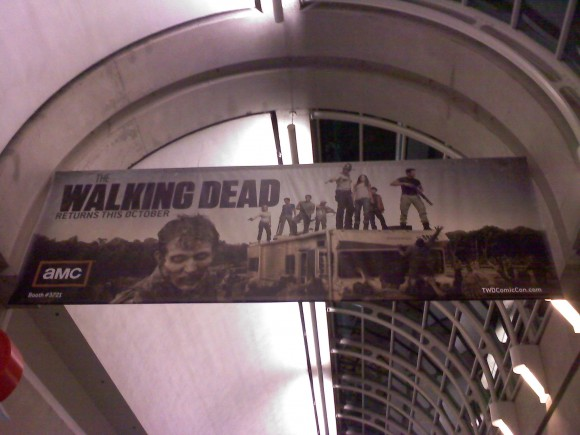 Promotional banners were on display for the second season of AMC's hit zombie drama, The Walking Dead.