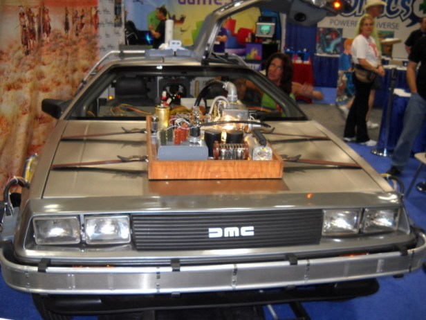 """One of the time machine DeLoreans from """"Back to the Future III"""" was on display and available for photo opportunities."""