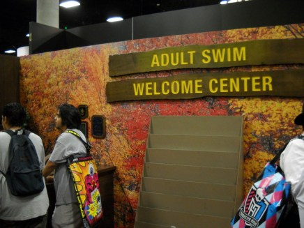 Adult Swim continued its tradition of non-traditional booths. This year their booth was mocked up as a park welcome center. This didn't seem to hurt it's popularity any, as the cleaned out brochure rack shows.