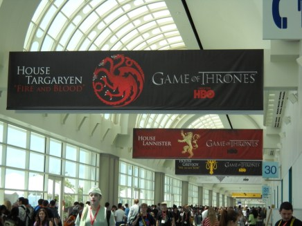 """All of the major houses from HBO's """"Game of Thrones"""" were represented by huge banners high above the hallways."""