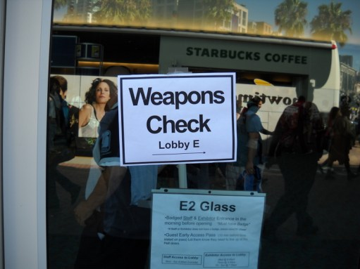 Comic-Con security was out in force this year. They were inspecting and peace-bonding any and all weapons carried by cosplayers this year.