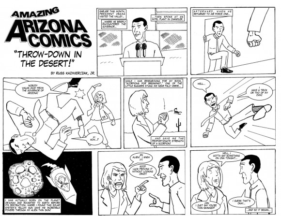 Amazing Arizona Comics: Throw-down in the Desert! Starring President Barack Obama and Arizona Gov. Jan Brewer, by Russ Kasmierczak Jr.