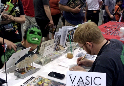 Russ sketching for an aggravated Hulk
