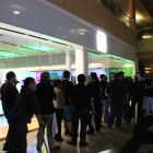 The line trailed outside the Microsoft Store well into the night.