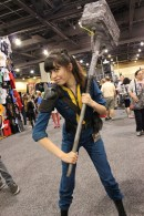 A Vault Dweller from Fallout 3 readies her Super Sledge. (Photo by Christen Bejar)