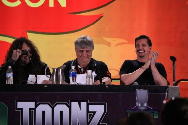[L to R] Voice actors Jess Harnell, Maurice LaMarche and DC Douglas crack up during their readings. [photo by Christen Bejar]