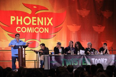 Sean Astin joins Nolan North, Troy Baker, Jess Harnell, Maurice LaMarche, and DC Douglas in the Twisted Toonz panel. [photo by Christen Bejar]
