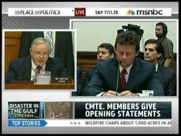 The guy on the left, Rep. Joe Barton (R-Texas) actually apologized to the guy on the right, Tony Hayward, former BP CEO, about the hassle he went through at the Congressional hearing. Can you believe that? THAT ACTUALLY HAPPENED.