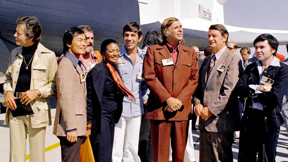 Gene Roddenberry with much of the original Star Trek cast