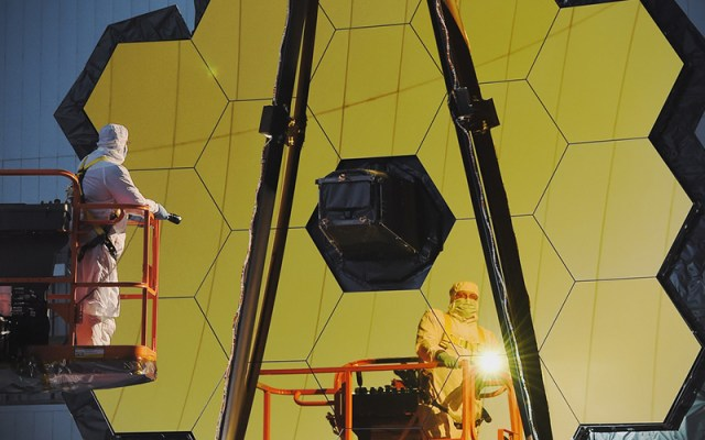 NASA prepares the James Webb Space Telescope for launch in October 2018. (Photo courtesy of NASA)