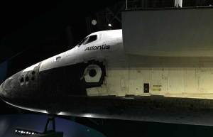 The Space Shuttle Atlantis on display at Kennedy Space Center.