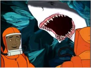 """This scene from the Sealab 2021 episode """"Cavemen"""" actually happens in the movie. No lie."""