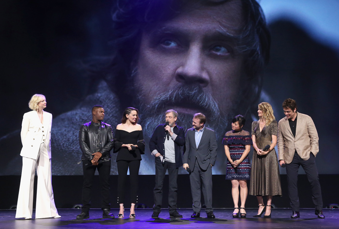 ANAHEIM, CA - JULY 15: (L-R) Actors Gwendoline Christie, John Boyega, Daisy Ridley, Mark Hamill, Director Rian Johnson, actors Kelly Marie Tran, Laura Dern and Benicio del Toro of STAR WARS: THE LAST JEDI took part today in the Walt Disney Studios live action presentation at Disney's D23 EXPO 2017 in Anaheim, Calif. STAR WARS: THE LAST JEDI will be released in U.S. theaters on December 15, 2017. (Photo by Jesse Grant/Getty Images for Disney) *** Local Caption *** Gwendoline Christie; John Boyega; Daisy Ridley; Mark Hamill; Rian Johnson; Kelly Marie Tran; Laura Dern; Benicio del Toro