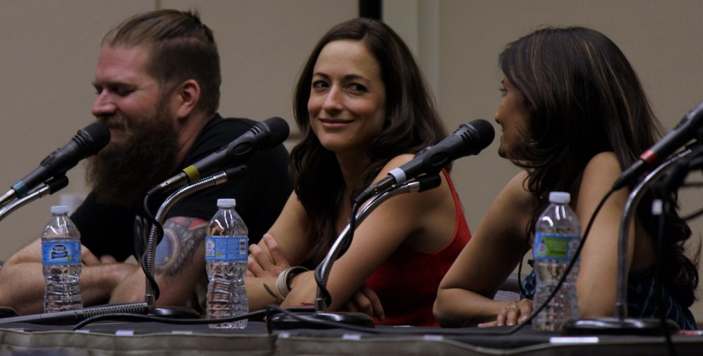Carolina Ravassa during the Voices of Overwatch panel at Game On Expo.
