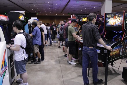 The arcade area was consistently packed on Saturday of the convention.