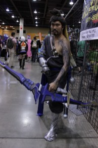 A Hanzo cosplayer from Overwatch.