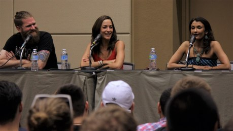 (From left to right) Overwatch voice actors John Petersdorf, Carolina Ravassa, and Anjali Bhimani during their panel.