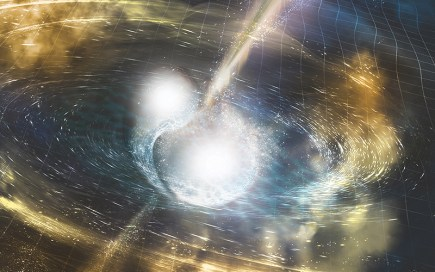 An artist's rendering of a kilonova, the collision between two super-dense neutron stars that throws off huge amounts of gold and platinum, energy – and gravitational waves. (Photo by A. Simonnet courtesy NSF/LIGO/Sonoma State University)