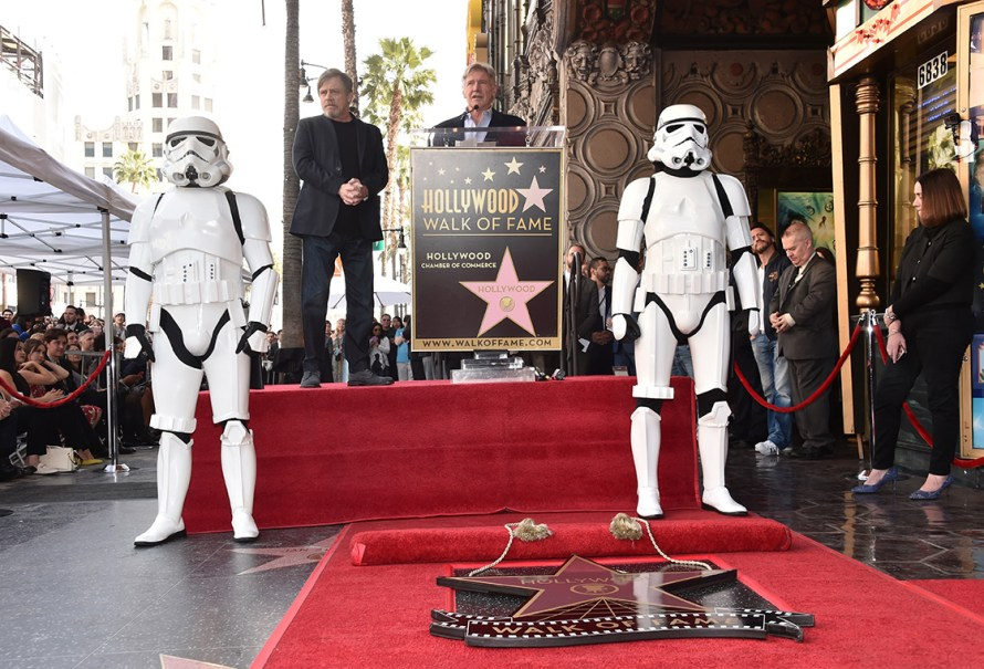 HOLLYWOOD, CA - MARCH 08: Mark Hamill (L) is honored with a star by Harrison Ford (R) on the Hollywood Walk of Fame on March 8, 2018 at Hollywood Walk Of Fame in Hollywood, California. (Photo by Alberto E. Rodriguez/Getty Images for Disney) *** Local Caption *** Mark Hamill; Harrison Ford