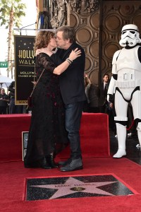 HOLLYWOOD, CA - MARCH 08: Marilou York (L) and Mark Hamill at Mark Hamill Star Ceremony on the Hollywood Walk of Fame on March 8, 2018 at Hollywood Walk Of Fame in Hollywood, California. (Photo by Alberto E. Rodriguez/Getty Images for Disney) *** Local Caption *** Mark Hamill; Marilou York