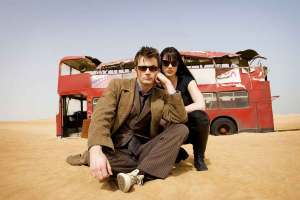 Michelle Ryan with David Tennant and a beefed-up bus in 2009's Doctor Who adventure Planet of the Dead.