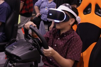 VR racing was another gaming option on the convention floor. Photo by Christen Bejar.