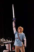 For Hyrule! This Link cosplayer finished off their skit to raucous applause. Photo by Christen Bejar.