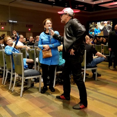 Guardians of the Galaxy's Michael Rooker takes a question from a member of the Federation Starfleet at Phoenix Comic Fest, Sunday, May 27, 2018, at the Phoenix Convention Center.