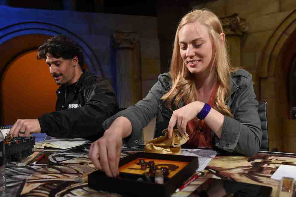 Joe Manganiello, left, and Deborah Ann Woll help unveil the new Dungeons & Dragons storyline, Waterdeep Dragon Heist during a live streaming event at the Line 204 Studios on Friday, June 1, 2018 in Los Angeles. (Jordan StraussAP Images for Dungeons & Dragons)