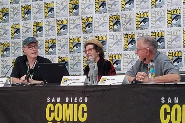 Jack Kirby's Consciousness Part 2 panel: J. David Spurlock (left); Barry Ira Geller (center); and Mike Royer (right).