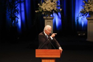 Former Vice President Joe Biden remembers his close friend Sen. John McCain during a memorial service Thursday at North Phoenix Baptist Church. (AP Pool Photo/Matt York)