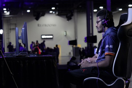 "Street Fighter player Victor ""Punk"" Woodley during one of his pools matches."