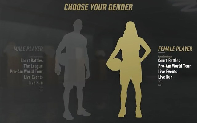Gamers playing NBA Live 19 can customize players by a variety of factors, including gender. (Screenshot courtesy EA Sports)