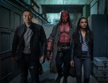 Ben Daimio (Daniel Dae Kim, left), Hellboy (David Harbour, center) and Alice Monaghan (Sasha Lane) in HELLBOY. Photo Credit: Mark Rogers