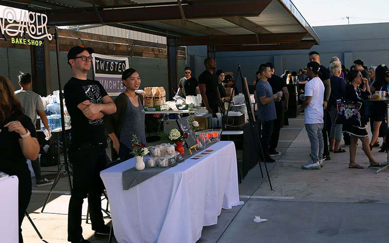 Vendors at the first-ever So Good Food and Film Festival consisted of local businesses. Food options at the event consisted of Asian-inspired or fusion foods. (Photo by Vivian Meza/Cronkite News)