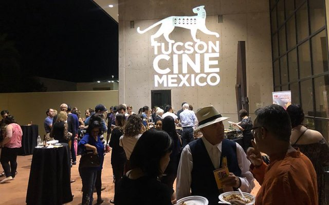 "Festival-goers at Tucson Cine Mexico's opening night on Wednesday treated themselves to dancing, drinks, celebration and food. ""This is really a treat, and I hope more people will take advantage and go to these films,"" festival attendee Trayce Peterson said. (Photo by Nicole Ludden/Cronkite News)"