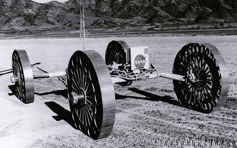Test vehicles were driven over rocks in northern Arizona meant to simulate the moon's uneven surface. These test drives helped NASA design the lunar roving vehicle, or LRV, which Apollo astronauts used during exploration missions. (Photo courtesy of NASA)