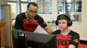 Juniors Eli Toelle, Hugh Gallagher and the rest of the Brophy League of Legends team get ready to take on Dobson High School in their first match of the inaugural AIA Fall esports season on Oct. 29, 2019, in Phoenix.(Photo by Sophia Briseño/Cronkite News)