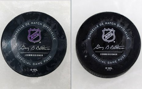NHL hockey pucks feature purple wording when they are frozen, indicating they are ready for game play. The logo and words turns white when the pucks are too warm. (Photos by Karrissa D. Herrera/Cronkite News)