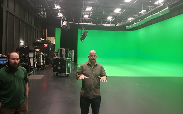 The owners of Do Not Peek Entertainment, Jason Baker (left) and Scott Smith, are excited about Sneaky Big Studios' state-of-the-art, 15,000-square-foot production studio. (Photo by Warren Younger/Cronkite News)