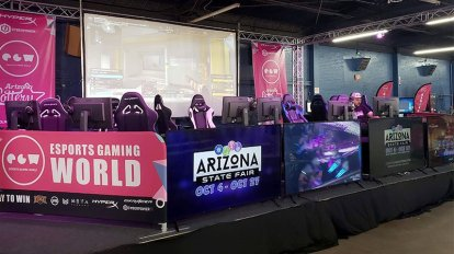 The esports exhibit at the Arizona State Fair has a stage where the best players can demonstrate their skills and maybe even win some cash prizes. (Photo by Warren Younger/Cronkite News)