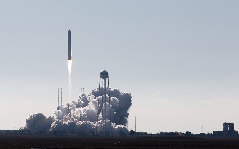 The rocket carrying the Phoenix CubeSat, designed and built by Arizona State University students, lifts off from the NASA Wallops Flight Facility on Virginia's Atlantic coast Saturday on its way to the International Space Station. (Photo by Harrison Mantas/Cronkite News)