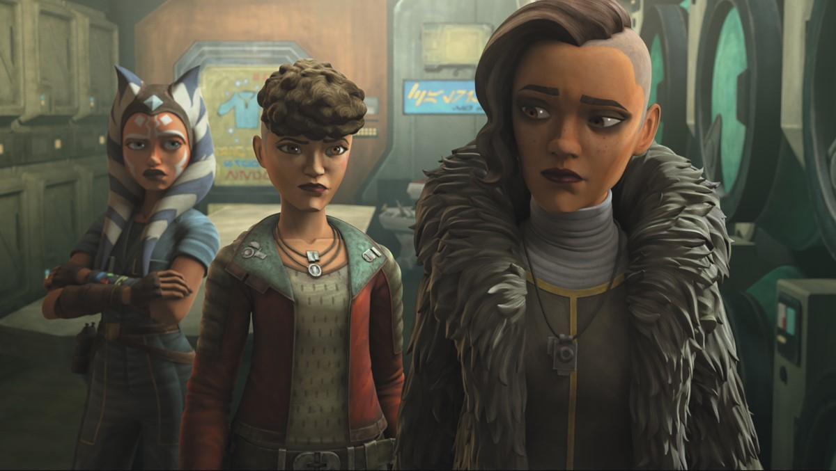Ahsoka Tano and sisters Trace and Rafa Martez in STAR WARS: THE CLONE WARS, exclusively on Disney+.