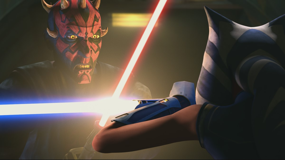 Maul and Ahsoka in STAR WARS: THE CLONE WARS, exclusively on Disney+.