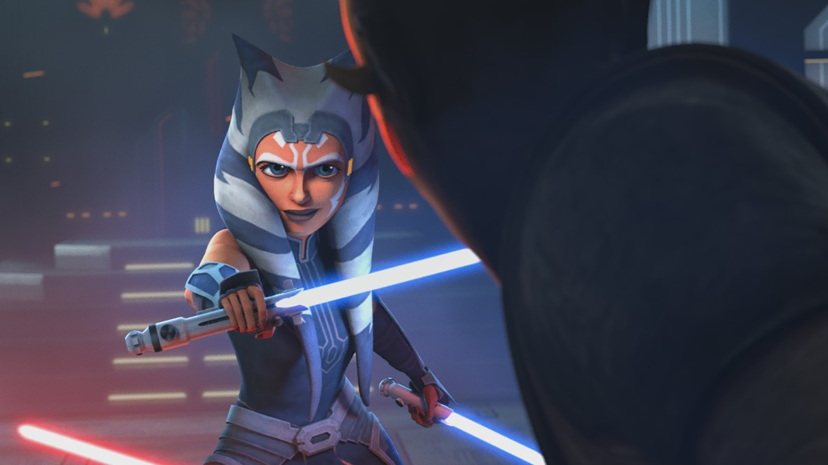 Ahsoka Tano and Maul in STAR WARS: THE CLONE WARS, exclusively on Disney+.